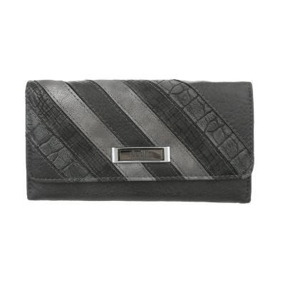 Portemonnaie Damen Geldbörse Grau Silber