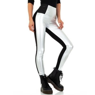 Hose in Lederoptik für Damen in Grau