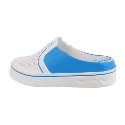 Keilsandaletten für Damen in Weiß und Blau