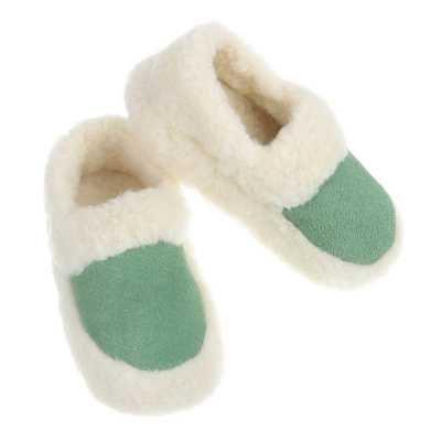Warm Gefütterte Schurwolle Hausschuhe Grün