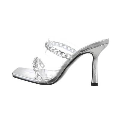 Pantoletten für Damen in Silber