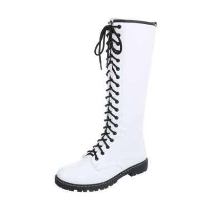 Flache Stiefel für Damen in Weiß