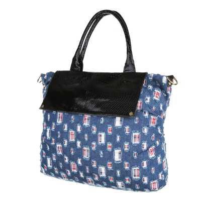 Große Damen Tasche Hellblau Schwarz