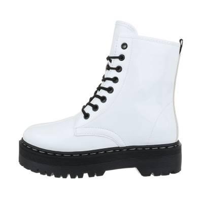 Schnürstiefeletten für Damen in Weiß und Schwarz