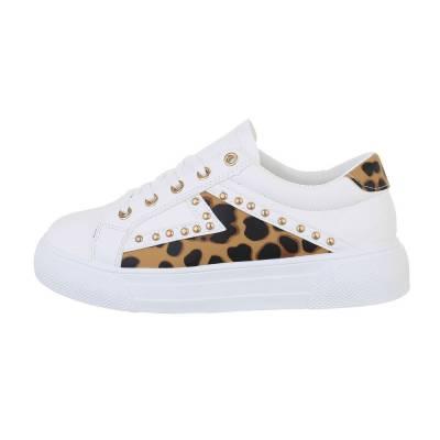 Sneakers low für Damen in Leo und Weiß