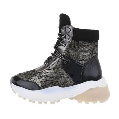 Sneakers high für Damen in Schwarz und Silber