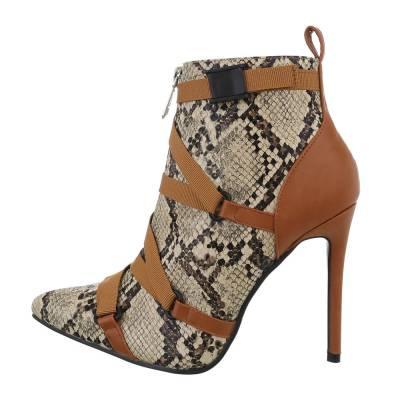 High Heel Stiefeletten für Damen in Braun und Beige