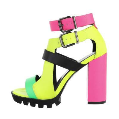 High Heel Sandaletten für Damen in Rosa und Gelb