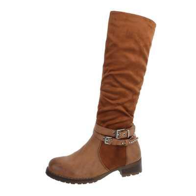 Flache Stiefel für Damen in Braun