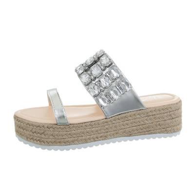Plateausandaletten für Damen in Silber und Beige