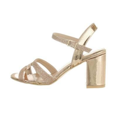 High Heel Sandaletten für Damen in Gold und Rosa