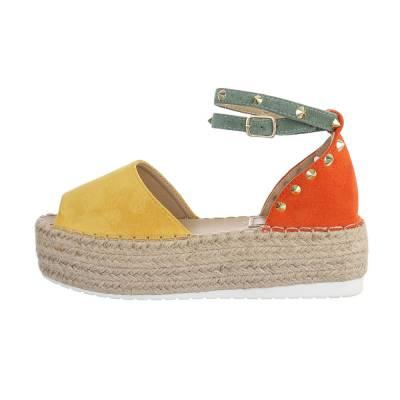 Plateausandaletten für Damen in Gelb und Orange