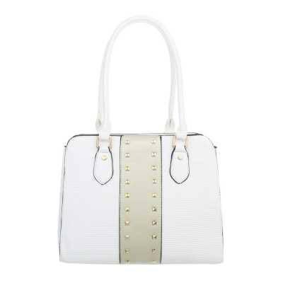 Mittelgroße Damen Tasche Weiß Gold