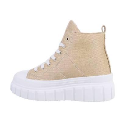 Sneakers High für Damen in Gold und Weiß