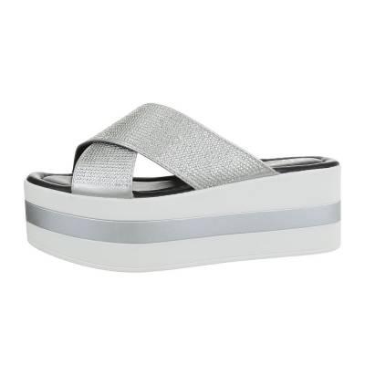 Plateausandaletten für Damen in Silber und Weiß