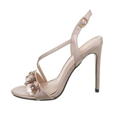 High Heel Sandaletten für Damen in Beige und Gold