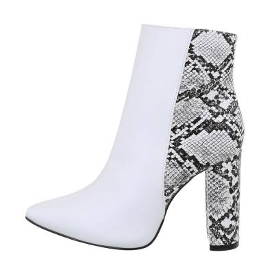 High Heel Stiefeletten für Damen in Weiß und Grau
