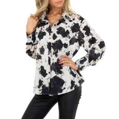 Hemdbluse für Damen in Beige und Schwarz