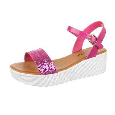 Keilsandaletten für Damen in Pink