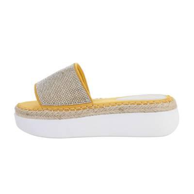 Plateausandaletten für Damen in Gelb und Weiß