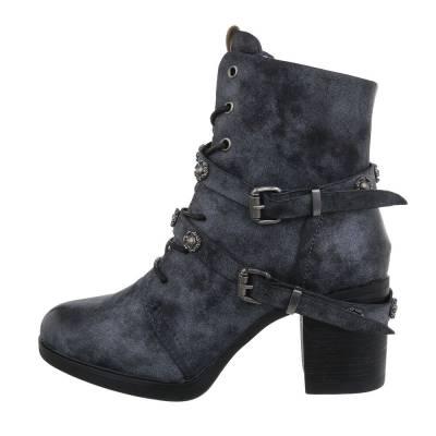 High Heel Stiefeletten für Damen in Blau und Grau