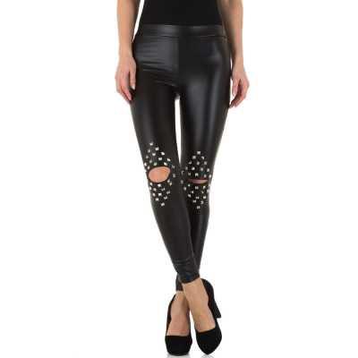 Leggings in Lederoptik für Damen in Schwarz