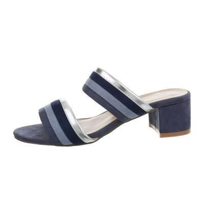 Pantoletten für Damen in Blau und Silber