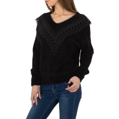 Strickpullover für Damen in Schwarz