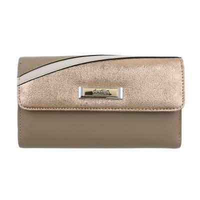 Portemonnaie Damen Geldbörse Braun Gold
