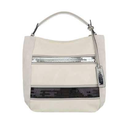 Mittelgroße Damen Tasche Grau Beige