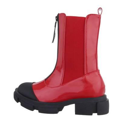 Flache Stiefeletten für Damen in Rot und Schwarz