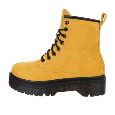 Schnürstiefeletten für Damen in Gelb