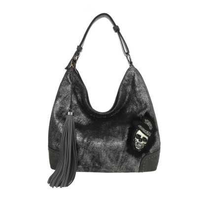 Mittelgroße Damen Tasche Silber Grau
