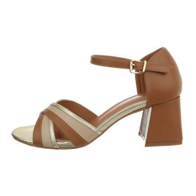 High Heel Sandaletten für Damen in Braun und Gold