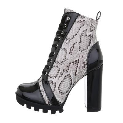 High Heel Stiefeletten für Damen in Schwarz und Grau
