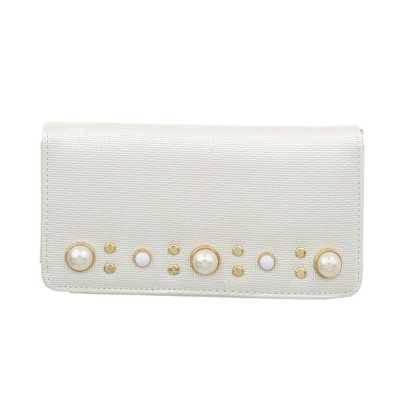 Portemonnaie Damen Geldbörse Weiß Silber