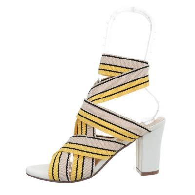 High Heel Sandaletten für Damen in Gelb und Weiß