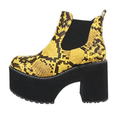 High Heel Stiefeletten für Damen in Gelb und Schwarz