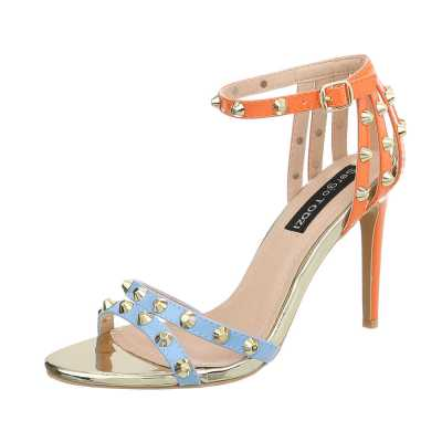 High Heel Sandaletten für Damen in Blau und Orange