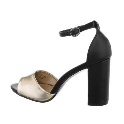 High Heel Sandaletten für Damen in Gold und Schwarz