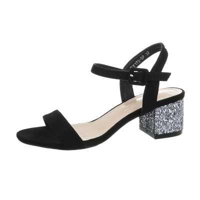 High Heel Sandaletten für Damen in Schwarz und Silber