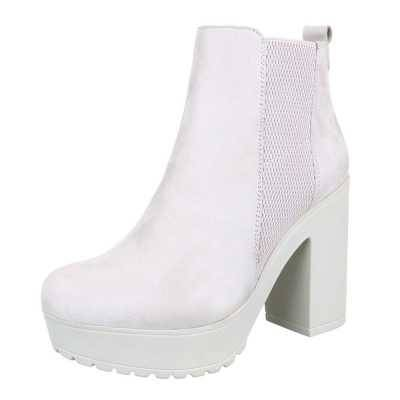 High Heel Stiefeletten für Damen in Creme
