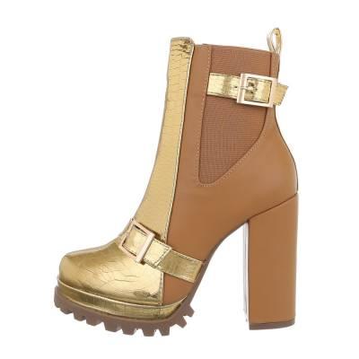 High Heel Stiefeletten für Damen in Gold und Braun