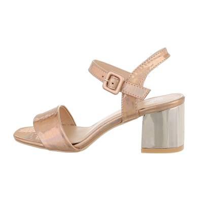 High Heel Sandaletten für Damen in Rosa und Gold