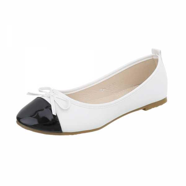 Ital-Design Klassische Ballerinas Damen-Schuhe Klassische Ballerinas Blockabsatz Blockabsatz Ballerinas Silber Schwarz, Gr 36, Gaq-10-
