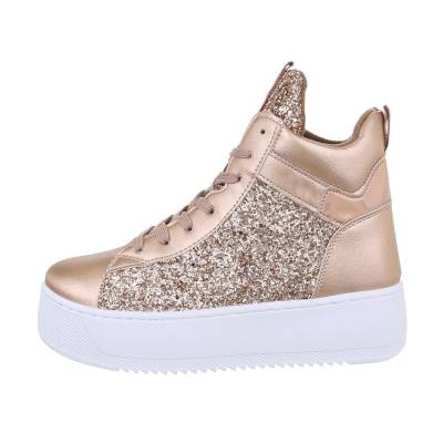 Sneakers high für Damen in Rosa und Gold