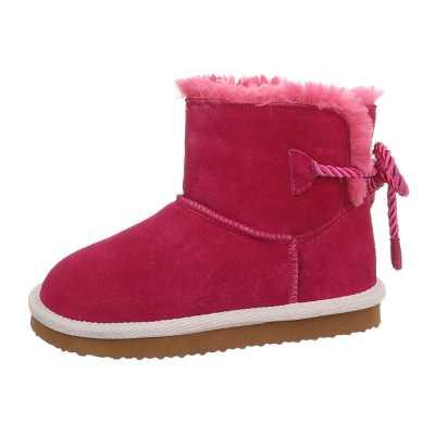 Mädchen Kinder Leder Stiefeletten Pink