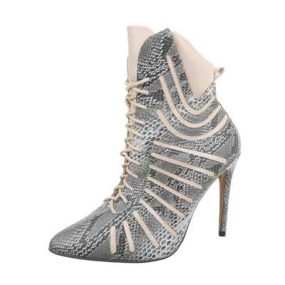 High Heel Stiefeletten für Damen in Grau und Beige