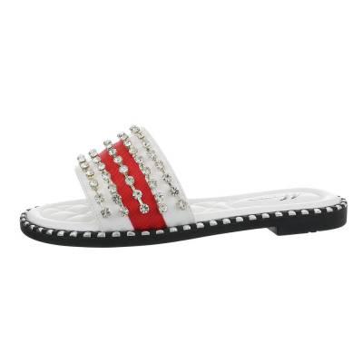 Pantoletten für Damen in Weiß und Rot