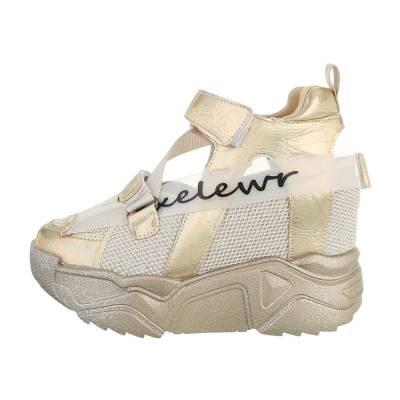 Sneakers high für Damen in Beige und Gold